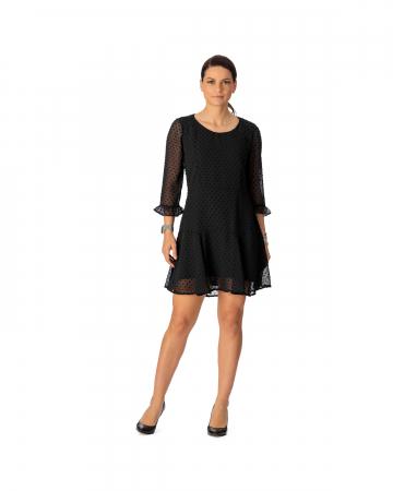 Rochie din voal texturat negru Alicia [0]
