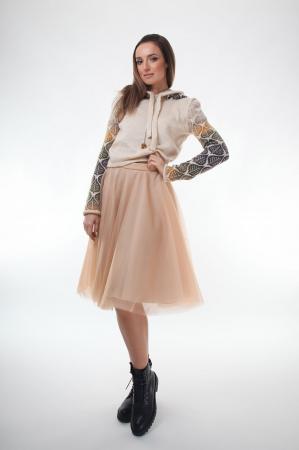 Pulover dama tricotat creamy cu model cu frunze si gluga0