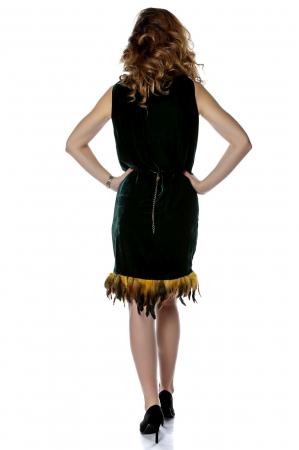 Rochie din catifea tip sac cu aplicatie de pene RO2012
