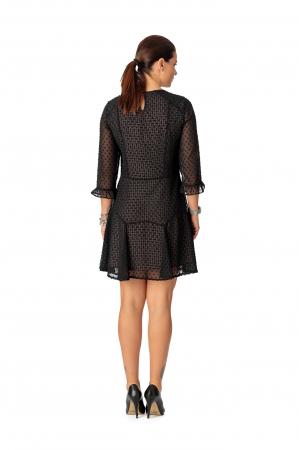 Rochie din voal texturat negru Adella [3]