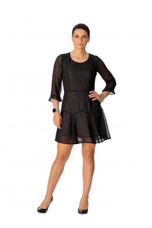 Rochie din voal texturat negru Adella [0]