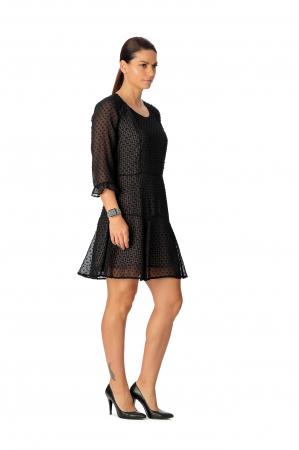 Rochie din voal texturat negru Adella [2]
