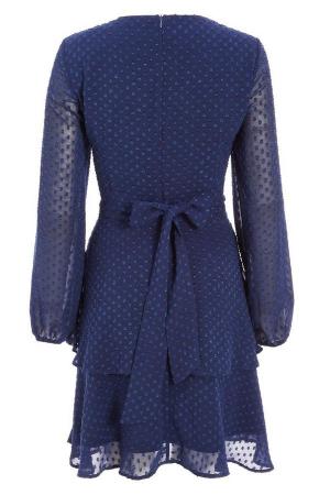 Rochie eleganta cu maneci lungi si volane Quiz Blue [4]