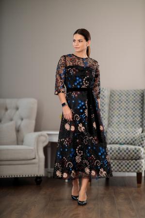 Rochie maxi eleganta, din dantela brodata cu motive florale, Alberta [2]