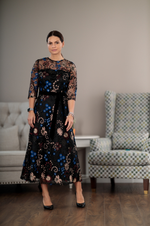 Rochie maxi eleganta, din dantela brodata cu motive florale, Alberta [0]