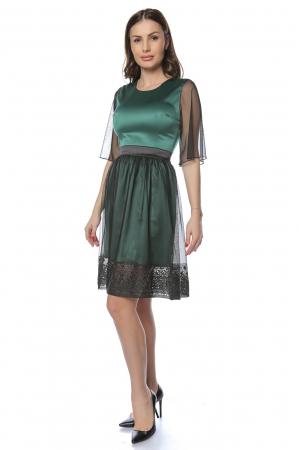Rochie eleganta din satin cu aplicatie de tul brodat RO2150