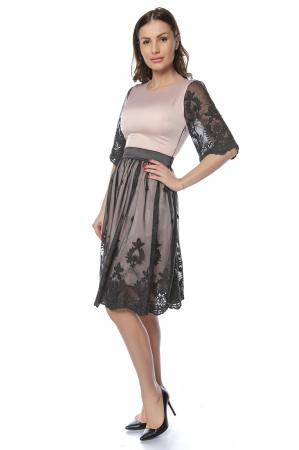 Rochie eleganta din satin cu aplicatie de tul brodat RO2200