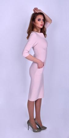 Rochie eleganta midi cu maneci trei sferturi Powder Pink2