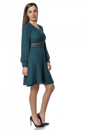 Rochie eleganta verde din voal RO267