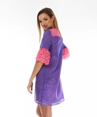 Rochie eleganta violet cu model floral1