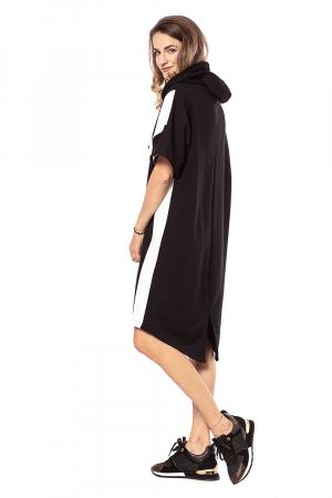 Rochie hanorac cu maneci scurte, in doua culori, alb si negru [1]