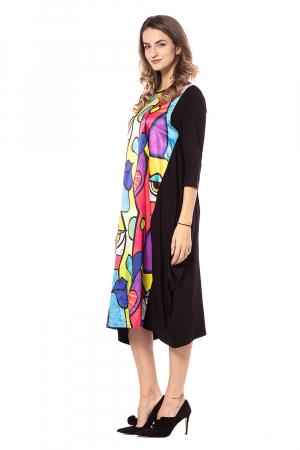Rochie midi asimetrica lejera, cu insertie multicolora [1]