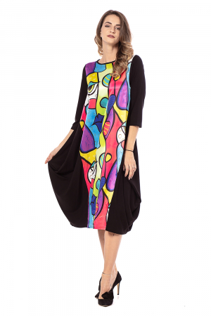 Rochie midi asimetrica lejera, cu insertie multicolora [2]