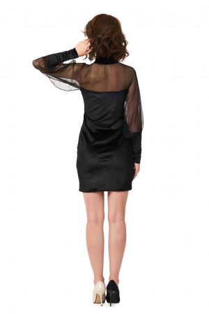 Rochie neagra din catifea cu maneci din voal de matase2
