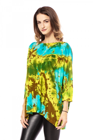 Bluza lejera multicolora cu maneci trei sferturi tye die [2]