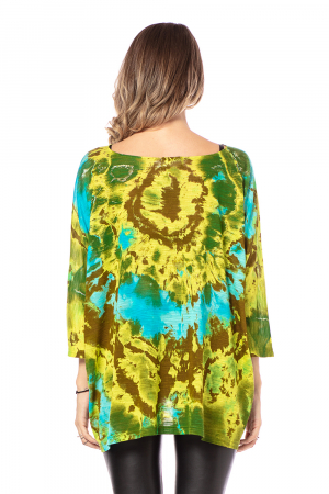 Bluza lejera multicolora cu maneci trei sferturi tye die [3]