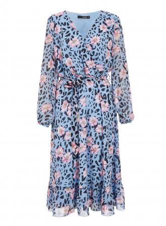 Rochie midi bleu cu model floral si maneci lungi3