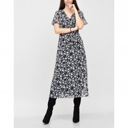 Rochie midi din voal cu flori mici negru cu alb [0]