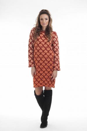 Rochie dreapta tricotata caramizie cu model floral1