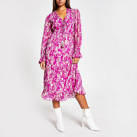 Rochie midi roz cu maneci lungi si decolteu in V0