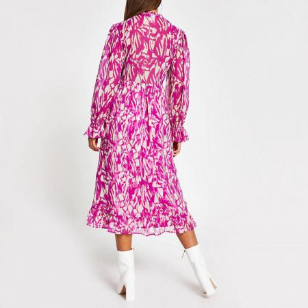 Rochie midi roz cu maneci lungi si decolteu in V2