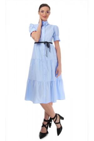 Rochie midi albastra, tip camasa, cu maneca scurta [0]