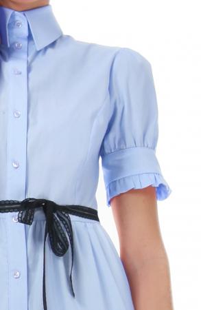 Rochie midi albastra, tip camasa, cu maneca scurta [1]