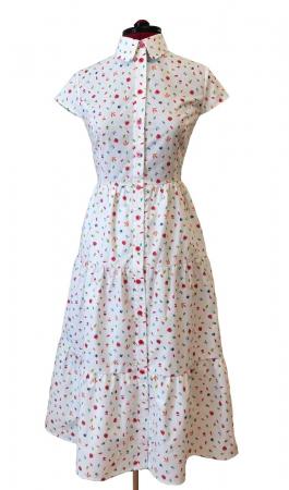Rochie midi tip camasa, cu maneca scurta, alba cu floricele [1]