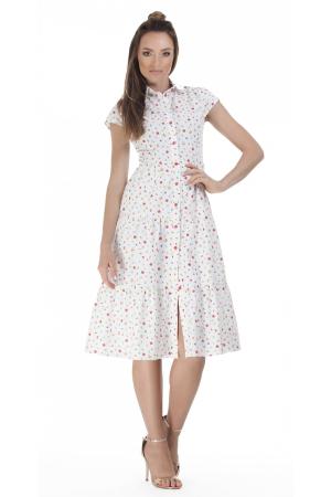 Rochie midi tip camasa, cu maneca scurta, alba cu floricele [0]