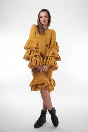 Rochie galbena tricotata cu maneci ample2