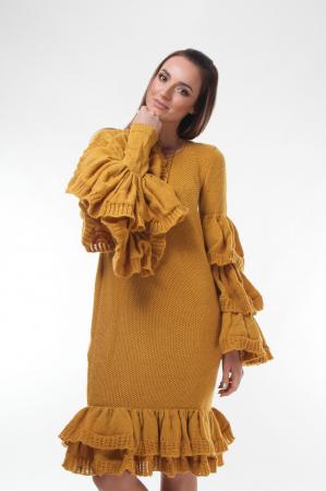 Rochie galbena tricotata cu maneci ample0