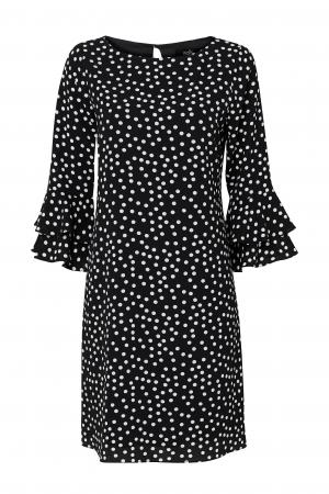 Rochie neagra cu buline mici albe si maneci trei sferturi4