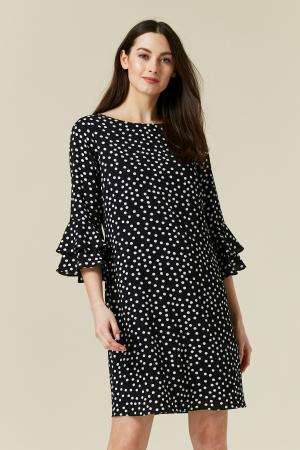 Rochie neagra cu buline mici albe si maneci trei sferturi0