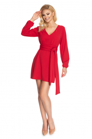 Rochie rosie cu maneci lungi si cordon lung1