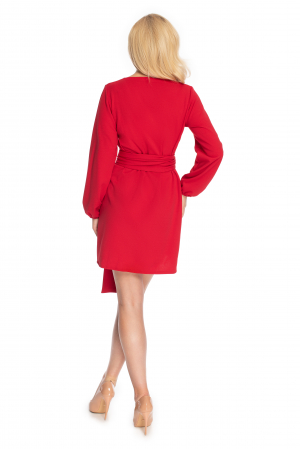 Rochie rosie cu maneci lungi si cordon lung3