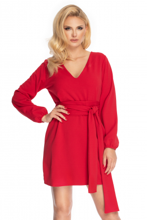 Rochie rosie cu maneci lungi si cordon lung0