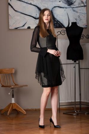 Rochie eleganta neagra din voal fin Limiam0