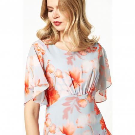 Rochie asimetrica din voal bleu cu imprimeu floral [2]