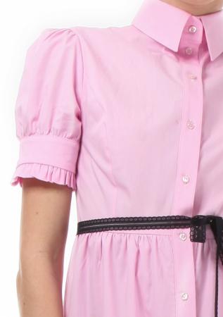 Rochie midi roz tip camasa, cu maneca scurta [2]