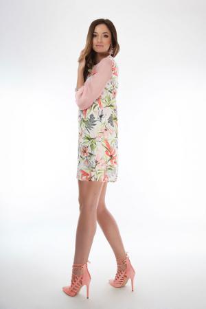Rochie scurta cu imprimeu floral si guler cu funda2