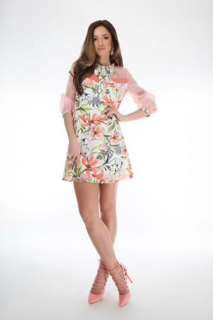 Rochie scurta cu imprimeu floral si guler cu funda1