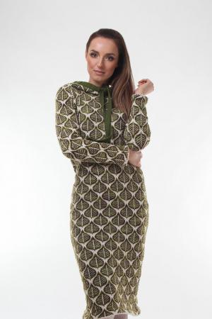 Rochie midi tricotata verde cu model frunze0