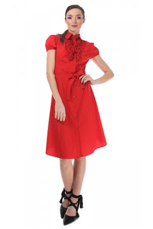 Rochie rosie tip camasa, cu maneca scurta [0]