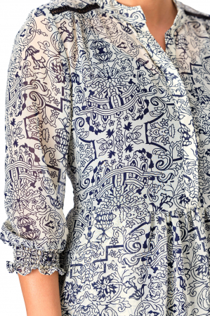 Rochie maxi din voal alb cu maneci trei sferturi Ligia [1]