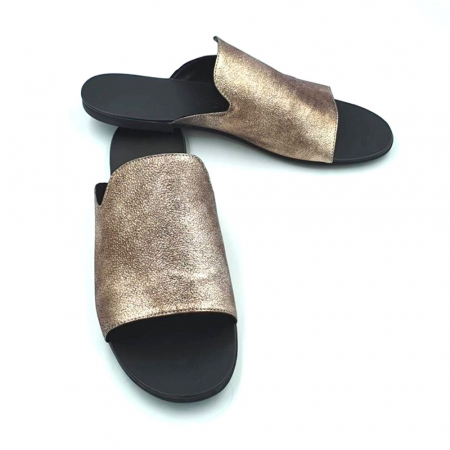 Papuci dama din piele naturala Araya Bronzo1