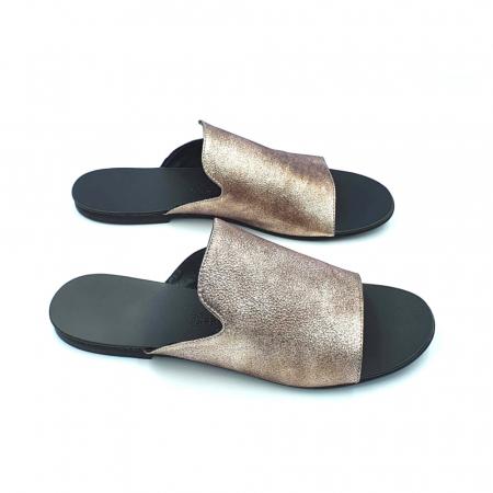 Papuci dama din piele naturala Araya Bronzo0