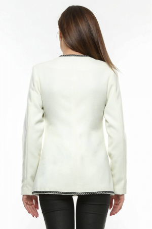 Sacou dama alb din stofa brodata SC03