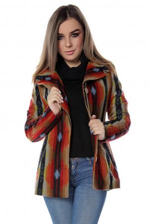 Sacou dama stofa portocaliu multicolor SC190