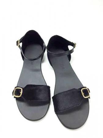 Sandale de dama din piele Ada Pony Black0