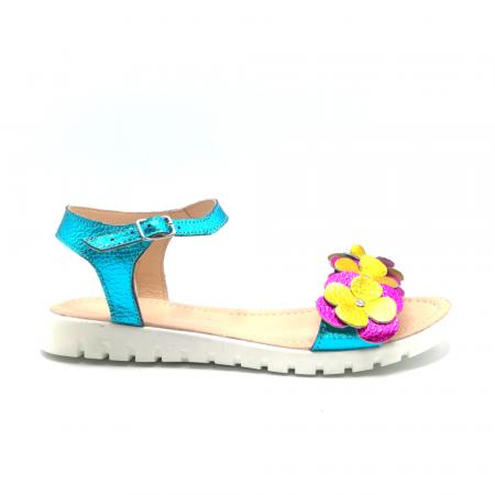 Sandale dama cu platforma si flori din piele naturala Turquoise Metal0